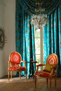click on photo for stunning new range of silk, bamboo and linen curtain fabrics from Malabar