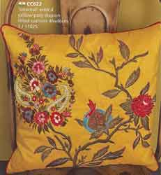 yellow oriental embroidered cushion cover