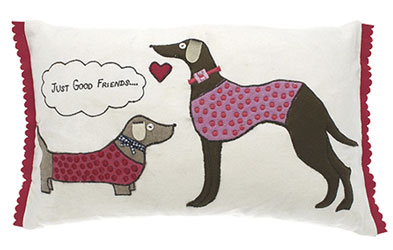just friends dog cushion