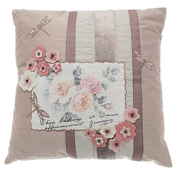 vintage rose and postcard cushion square