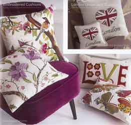 embroidered and union jack cushion covers