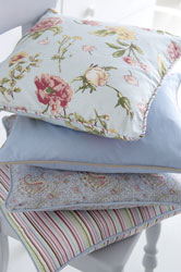 floral and striped yarn dyed cotton cushion covers