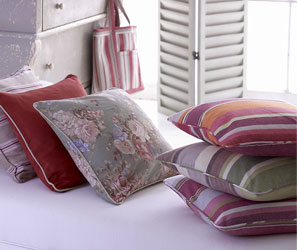 striped and floral piped cushion covers