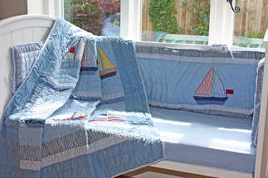 nautical theme cot quilt and bumper
