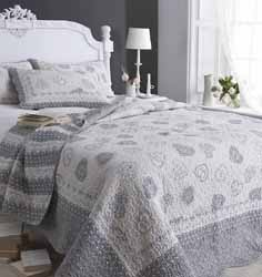 lucerne grey and white quilted bedspread