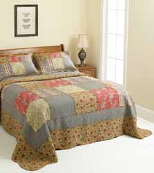 scarlett red, chestnut and blue patchwork quilt
