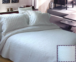 tamerton white cotton embossed bedspread
