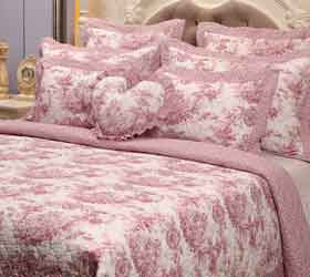 toile cranberry bedspreads, duvet covers and curtains