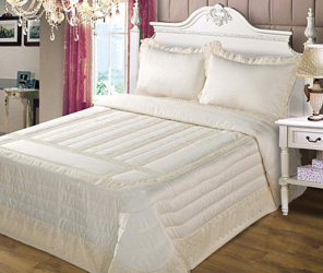 anita cream satin and lace bedspread