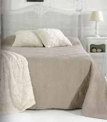 chrysanthemum grey quilted bedspread