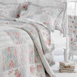 elisha duckegg and pink floral patchwork quilt with white lace