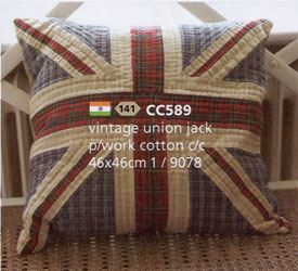 vintage union jack patchwork cushion cover