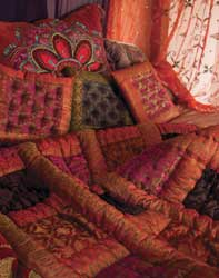 red and pink satin brocade patchwork bedspread