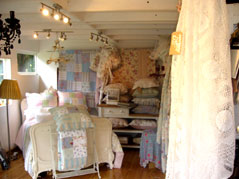 showroom display with lace bedspread