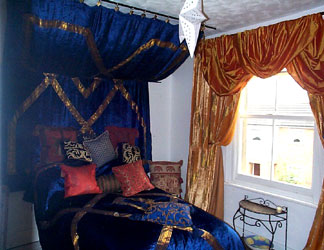 royal blue velvet with gold braid bedspread