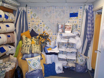 blue and yellow display of home furnishings