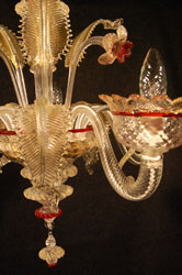 murano glass chandelier red gold