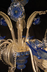 murano chandelier blue closeup