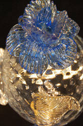 murano chandelier blue flower closeup