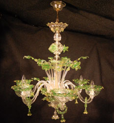 murano glass chandelier green gold