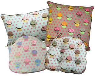cup cakes group of cushions and seat pads