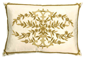 frances ivory and gold silk cushion