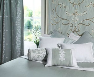 tamara sky blue linen with white embroidery curtain panels