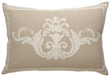 florence large rectangular cushion in natural linen with off-white cotton sateen applique