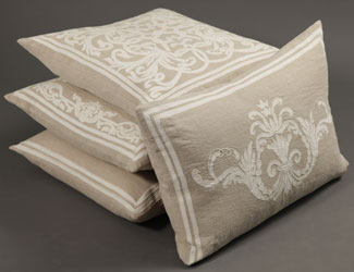 florence cushions in natural linen with off-white cotton sateen applique