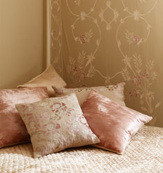joanna rose collection of sheer curtain panels and clay linen cushions embelliished with shell velvet applique