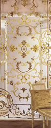 chatsworth net panel with terracotta and gold velvet applique