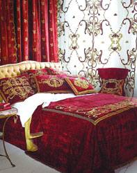 Florence superking bedspread, velvet curtain panel,  net panel and Florence cushons assorted
