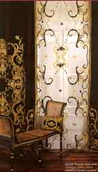 Florence velvet curtain panel and  net panel