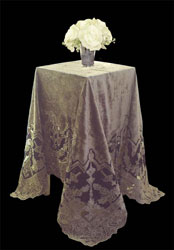 henley throw or tablecloth in taupe velvet and net