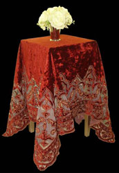 henley appliqued velvet and net throw or tablecloth