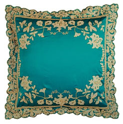 juliet turquoise silk large cushion with gold embroidered and appliqued embellishment