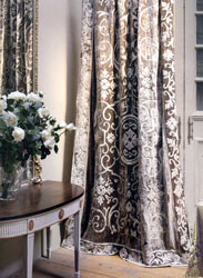 whitehall taupe velvet curtain panel with dove taffeta applique