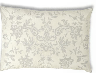 jullet ivory and silver blue silk rectangular cushion