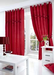 poppies red eyelet curtains