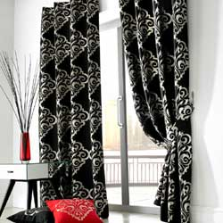 zurich black curtains and cushions