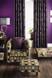 aubergine and lime room setting
