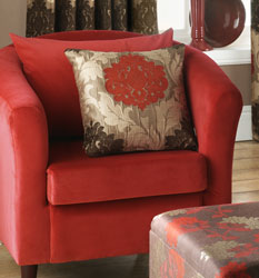 rome saffron cushion on torronto velvet tub chair