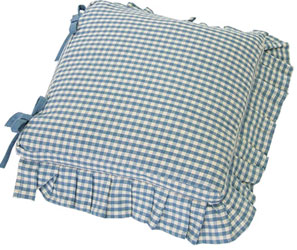 auberge frilled seat cushion cover with ties wedgwood blue