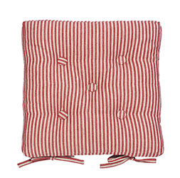 county ticking dorset red buttoned seat pad with ties