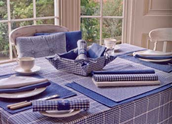 auberge range of gingham check seat pads and tablecloths