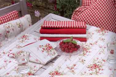 rose cottage seat pads and tablecloths