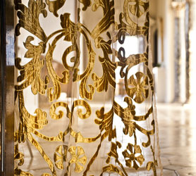 richmond gold velvet and net curtain panel