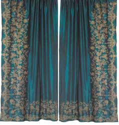 juliet teal silk curtain