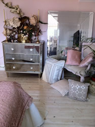 mirrored furniture and cushions