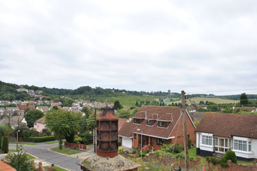 view from the roof up towards the water tower